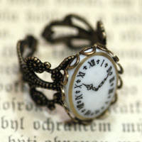 Vintage Clock Cameo Ring - $18.00 : RagTraderVintage.com, Handmade Indie Retro Accessories