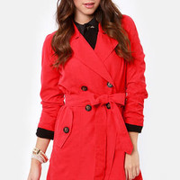 BB Dakota by Jack Hans Coral Red Trench Coat
