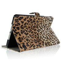 Amazon.com: ZuGadgets Brown / Leopard Animal Print Premium PU Leather Protective Skin Smart Stand Case Cover Wallet Folio for Apple iPad Mini (4240-1): Computers & Accessories