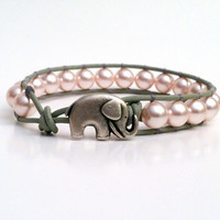 Good Luck Elephant, Pink Swarvoski Pearl Leather Wrap Bracelet, Chan Luu Style, Valentine&#x27;s Day Gift