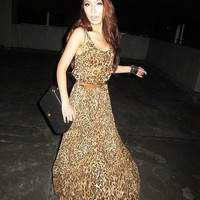 Wholesale Unique Sleeveless Round Collar Long Dress Leopard