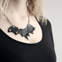 Leather Bat Necklace with Spikes
