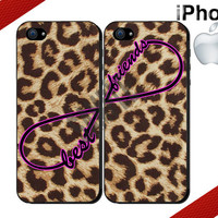 Best Friends iPhone Case - iPhone 4 Case or iPhone 5 Case - Infinity - Leopard Print iPhone Case - Two Case Set