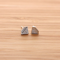 simple DIAMOND stud earrings with crystals, 3 colors | girlsluv.it