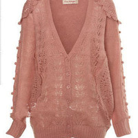 Pink Cardigan Hollow Sweater:Buy at Sheinside