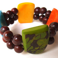 Multi-Color Tagua Nut Chunky Bead Bracelet with Acai Seeds, Vegan Vegetarian Eco-Friendly Nature-Inspired