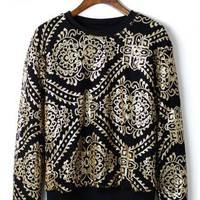 Black Long Sleeve Sweater with Gold Sequin Baroque Detail