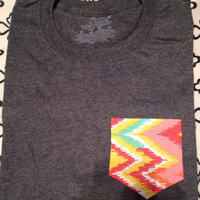 Medium grey with color chevron frocket
