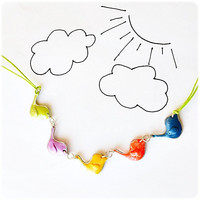 Cute funny Birds Colorful Necklace  - flock of birds