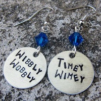 Dr Who Quote - Wibbly Wobbly Timey Wimey - Hand Stamped Earrings -Made to Order-