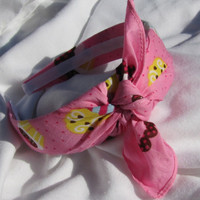 Bandana Knot Headband PINK CUPCAKE by shirkdesigns on Etsy