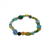 Blue, Green, and Yellow Beaded Glass Bracelet