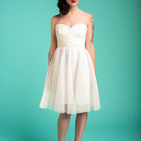 Candy Dot Dress, Strapless, Ivory Tulle, Made to Order