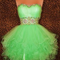 MINT GREEN SHORT PROM PA...