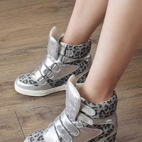 Silver leopard print  strap high top trainer from 2NDAPRIL