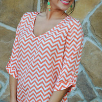 EVERLY: Spring Back The Chevron V-Neck: Sherbert | Hope&#x27;s