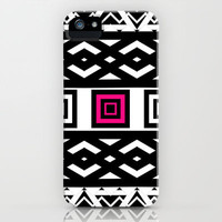 Girly Black White Abstract Geometric Pattern Pink iPhone Case by Girly Trend | Society6