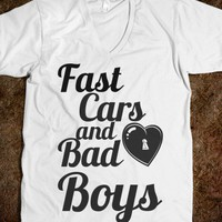 fast cars and bad boys-Unisex White T-Shirt