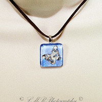 Butterfly Glass Tile Necklace, Butterfly Pendant Necklace, Glass Tile Jewelry