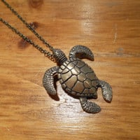 Bronze Sea Turtle Necklace - Turtle Necklace - Bronze Turtle Necklace