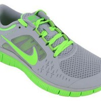 Womens Nike Free Run +3 Running Shoe Wolf Grey/Electric Green Size 6.5