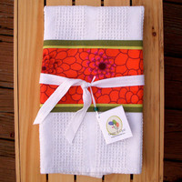 Kitchen Towel Orange Flowers With Green Accents by TwiggyandOpal