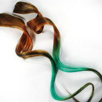 Forest Fronds / Human Hair Extension / Brown Brunette Moss Green / Long Tie Dye Colored Hair