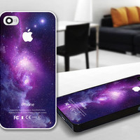 PDP 0031 Purple Galaxy Nebula with Apple Logo - Custom Design For iPhone 5 Plastic And iPhone 4 / 4S Case Cover - Black / White Cases