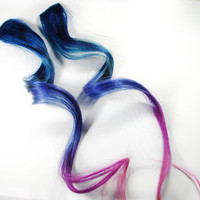 Fairy Bliss / Human Hair Extension / Purple Blue Pink / Long Tie Dye Colored Hair