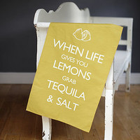 &#x27;when gives you lemons&#x27; tea towel by catherine colebrook | notonthehighstreet.com