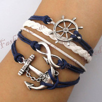 Infinity, Anchor &amp; Rudder Bracelet--Antique Silver Bracelet--Wax Cords and Imitation Leather Bracelet--Best Chosen Gift