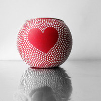 Heart Red and White Hand painted Votive Candle by PearlesPainting