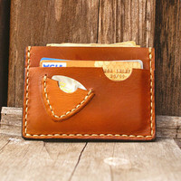 Personalized Little Thin mens wallet pick guitar brown card case / Men Valentines / Gift for Him
