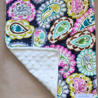 Pink Lime Teal Paisley Print and Soft Minky Small Baby Blanket