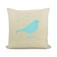 Bird pillow cover  Aqua bird print on natural by ClassicByNature