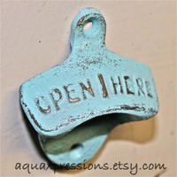 Aqua Blue Bottle Opener /Cast Iron /Vintage by AquaXpressions