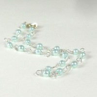 Pearl Anklet Light Blue Swarovski and Silver Ankle Bracelet