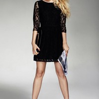 OASAP - Cropped Sleeve Bound Waist Lace Dress - Street Fashion Store