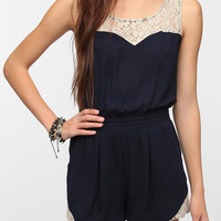 Pins and Needles Crepe Lace Inset Romper