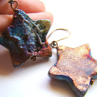 Raku star chunky earrings  ceramic star in blue by ElephantBeads