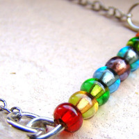 Rainbow beaded bar necklace in sterling silver by ElephantBeads