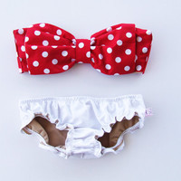 Vintage Bow Bandeau Sunsuit Bikini . DiVa Halter Neck. Red and White Polka Dot  Halter Neck top White Panties. Sexy and cute Pin up Style