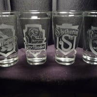 Hogwarts 16oz Glasses Set of 4 by geekyglassware on Etsy