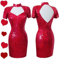 Vintage 80s RED Valentines SEQUIN Cocktail Party PROM Dress S M Glam Mini TROPHY