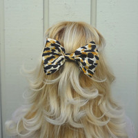 Animal print big bow clip  bow barrette  by VintageBowBoutique