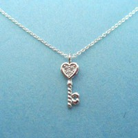 Cute Heart Key Pendant, Sterling Silver, Necklace
