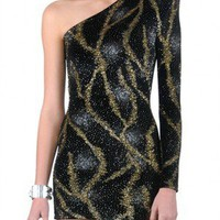 Jade  Belle -  Brian Lichtenberg - Gold and Silver Firework Lava One Shoulder Glitter Dress
