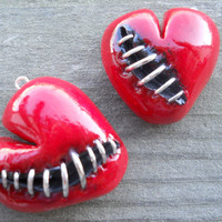 Stitched Heart Made From Polymer Clay by shellybelly4evr on Etsy