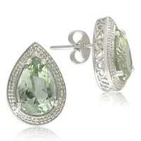 Amazon.com: Sterling Silver Pear-Shaped 7x10mm Green Amethyst Stud Earrings: Jewelry