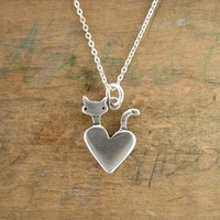 Sterling silver pocket cat charm necklace